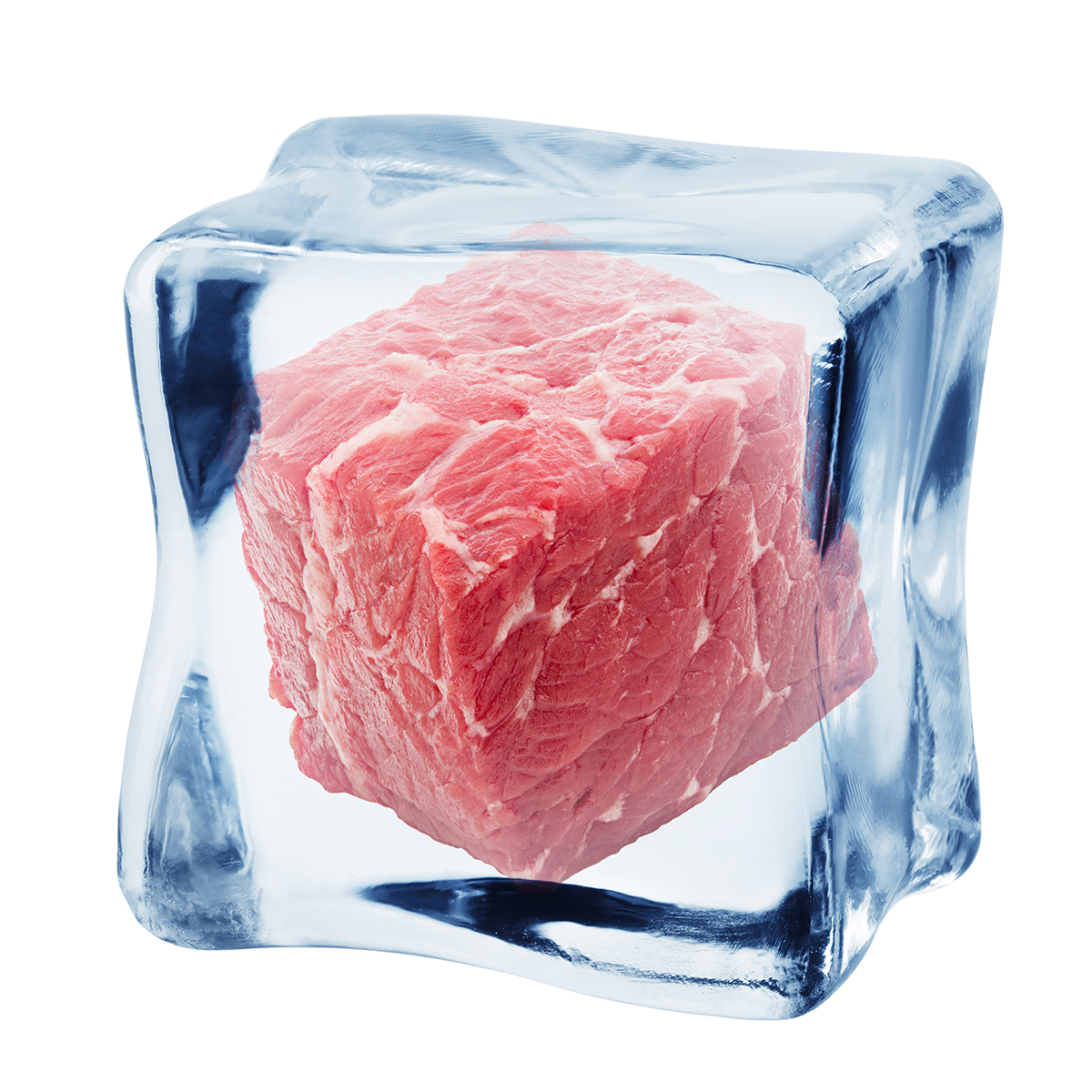 meat, beef in ice cube, isolated on white background, clipping path, full depth of field